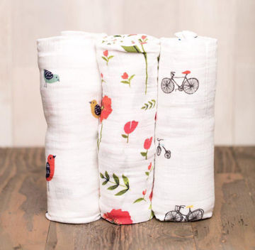 Picture of Cotton Muslin Swaddle 3 Pack - Summer Poppy by Little Unicorn