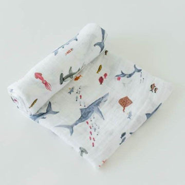 Picture of Cotton Muslin Swaddle Single - Shark by Little Unicorn