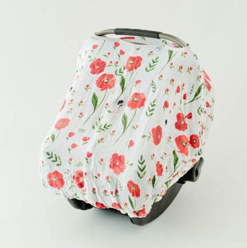 Picture of Carseat Canopy in Cotton Muslin - Summer Poppy