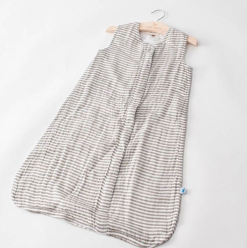 Picture of Cotton Muslin Sleep Bag - Grey Stripe by Little Unicorn