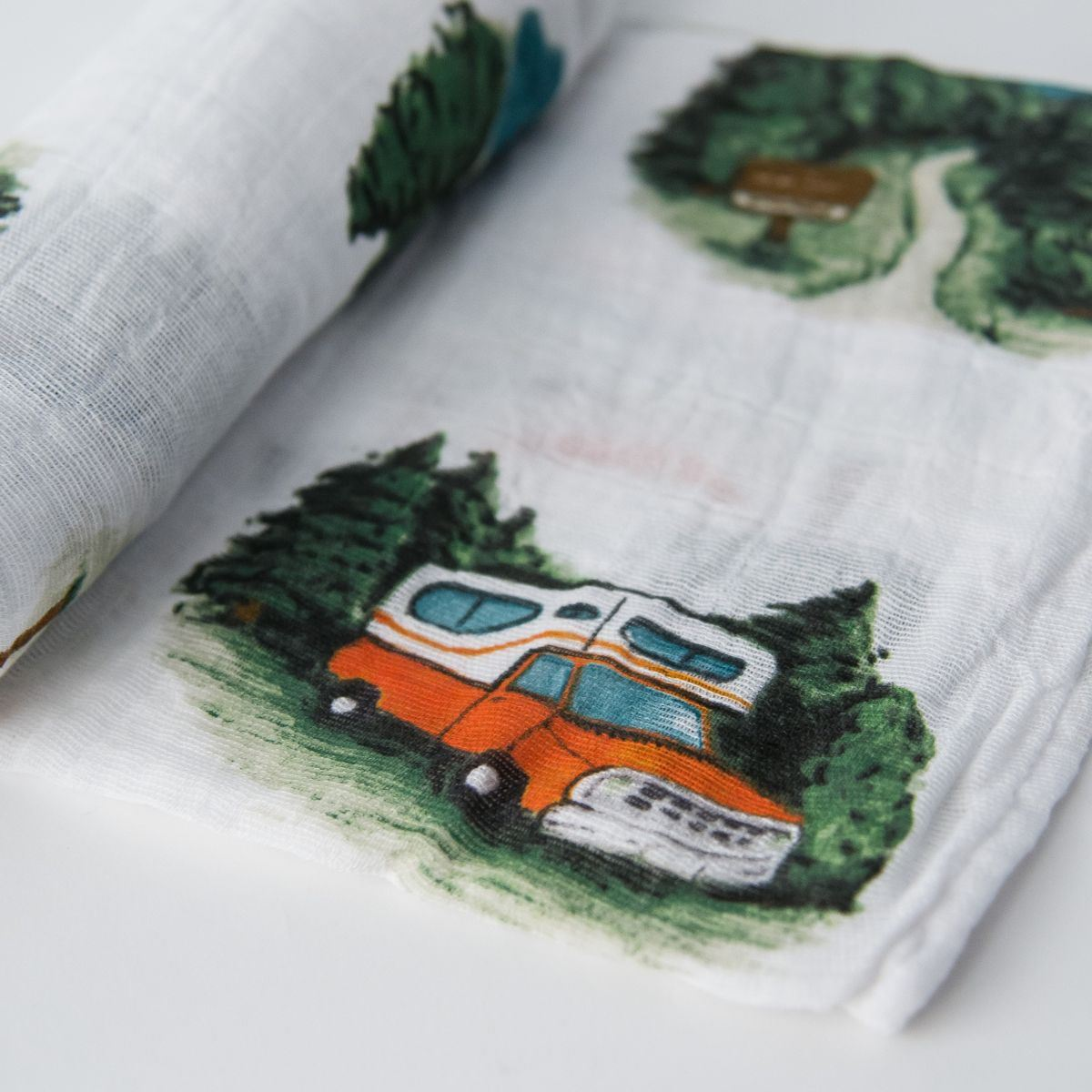 Picture of Cotton Muslin Swaddle Single - Happy Camper by Little Unicorn