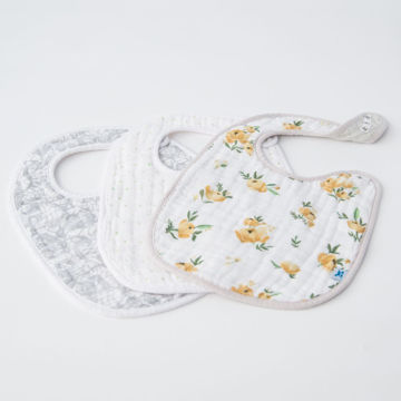 Picture of Cotton Muslin Classic Bib 3 Pack - Yellow Rose Set