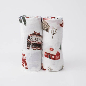 Picture of Deluxe Bamboo Muslin Swaddle 2 Pack - Sweater Soiree by Little Unicorn