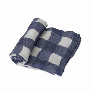 Picture of Deluxe Bamboo Muslin Swaddle Single - Blue Plaid by Little Unicorn