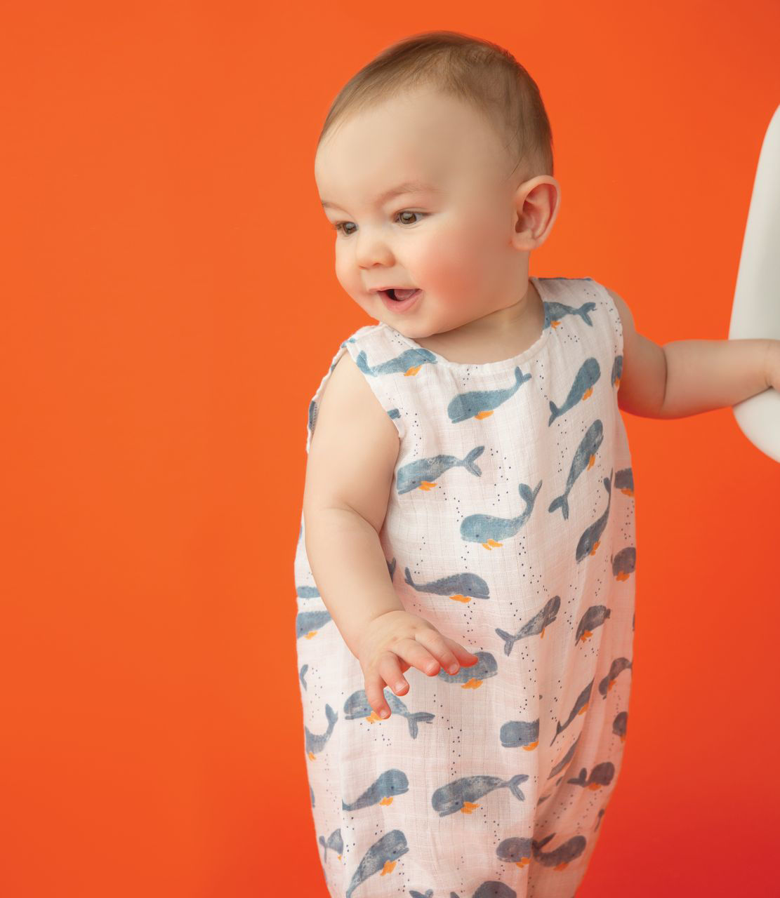 Picture of Sleevless Romper 12-18 - Baby Whale - Muslin