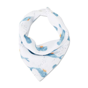 Picture of Bandana Bib One Size - Baby Whale - Muslin
