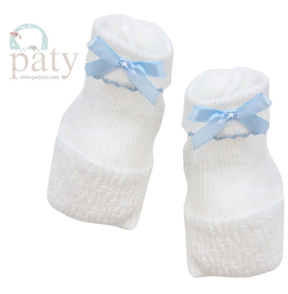 Picture of Booties With Bow - Knit White With Blue Trim