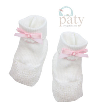 Picture of Booties With Bow - Knit White With Pink Trim