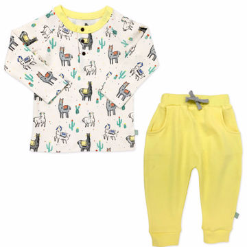 Picture of Finn & Emma Llama Henley & Yellow Pants Set