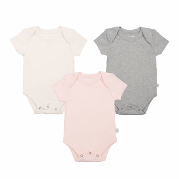 Picture of Finn & Emma 3 Pack Lap Shoulder Bodysuits - Organic Basics - Pink, Ivory, & Heather