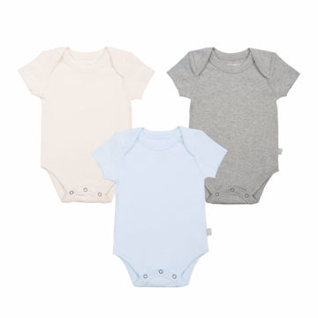 Picture of Finn & Emma 3 Pack Lap Shoulder Bodysuits - Organic Basics - Blue, Ivory, & Heather