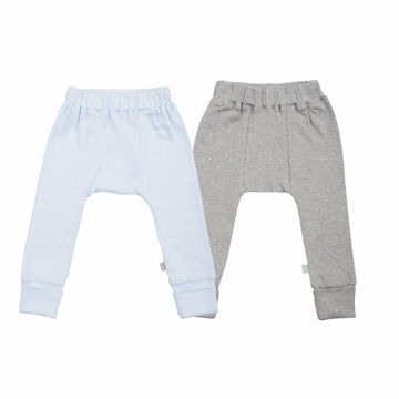 Picture of Finn & Emma 2 Pack Pants - Organic Basics - Light Blue & Heather