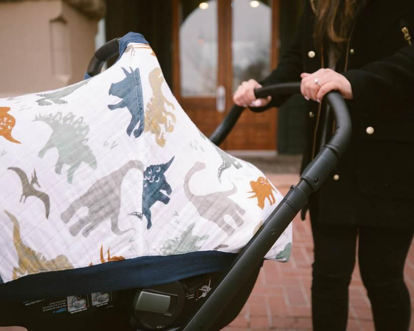 Picture of Cotton Muslin Car Seat Canopy 2 - Dino Friends by Little Unicorn