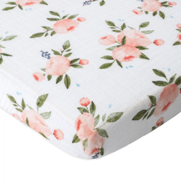 Picture of Cotton Muslin Mini Crib and Play Yard Sheet - Watercolor Roses