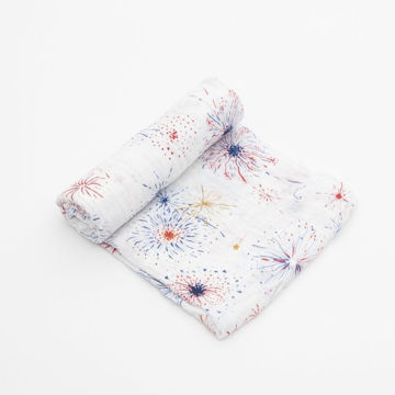 Picture of Cotton Muslin Swaddle Single - Fireworks by Little Unicorn