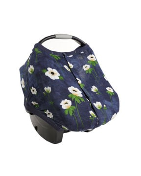 Picture of Cotton Muslin Car Seat Canopy 2 - White Anemone by Little Unicorn