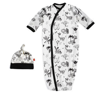 Picture of Animal Safari  Modal Magnetic Gown & Hat (Newborn - 3 Month)