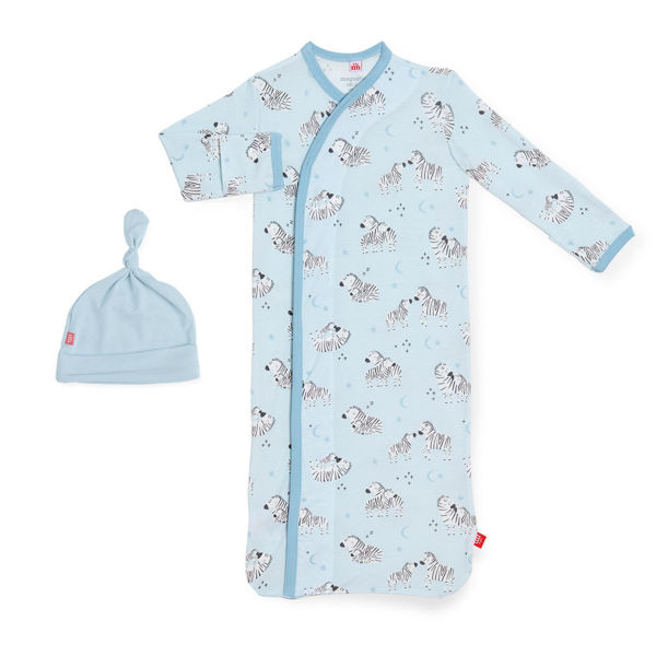 Picture of Blue Little One  Modal Magnetic Gown & Hat (Newborn - 3 Month)