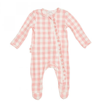 Picture of Angel Dear Bamboo Zipper Footie - Gingham Pink