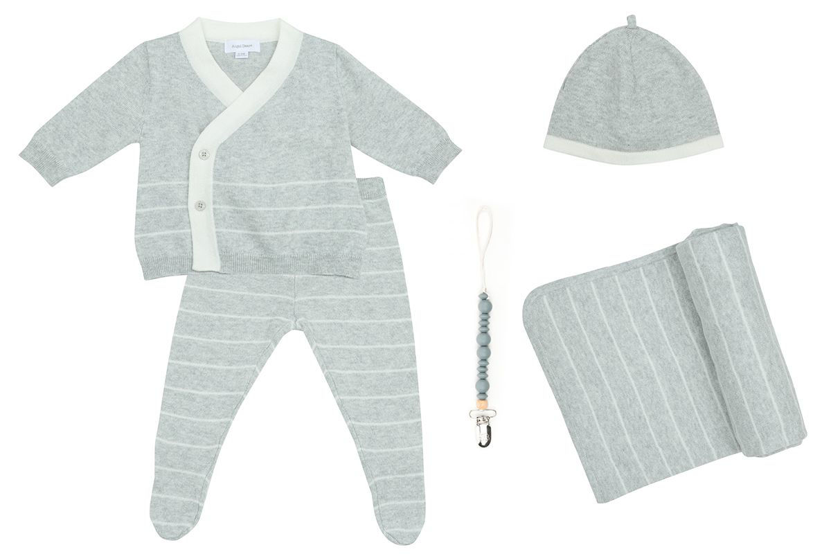 Picture of Heirloom Newborn Euro Knit Gift Set - Gray