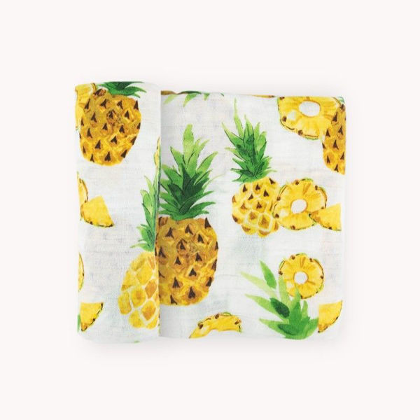 Picture of Cotton Muslin Swaddle Single - Fresh Pineapple by Little Unicorn