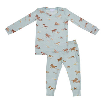 Picture of Angel Dear Bamboo Lounge Wear Set - Blue Horses